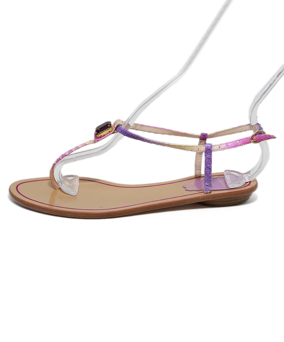 Rene Caovilla Purple Leather Crystal Sandals 2