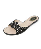 Rene Caovilla Black Satin Pearl Detail Sandals 1