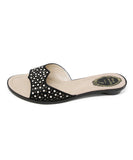 Rene Caovilla Black Satin Pearl Detail Sandals 2