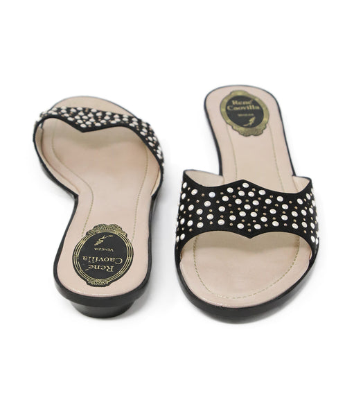 Rene Caovilla Black Satin Pearl Detail Sandals 3