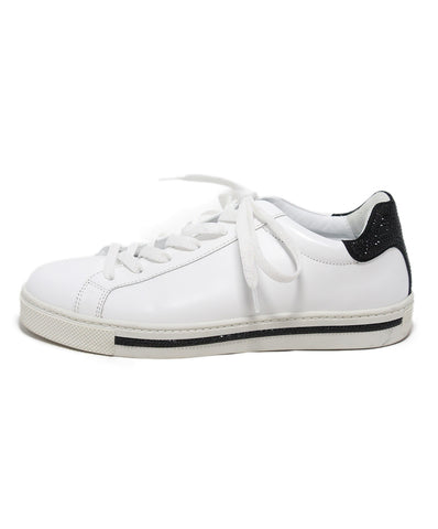 Rene Caovilla white leather black sequin sneakers 1