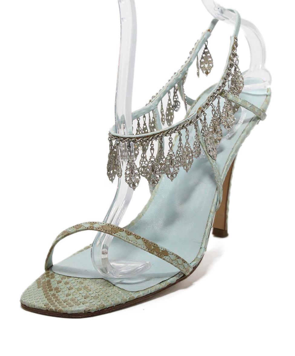 Rene Caovilla Blue Snake Skin Leather Silver Charms Sandals 1