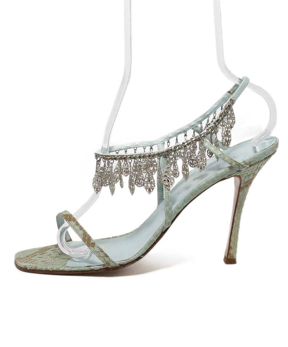 Rene Caovilla Blue Snake Skin Leather Silver Charms Sandals 2