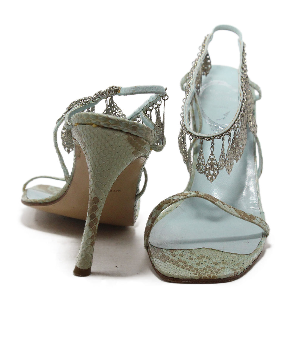 Rene Caovilla Blue Snake Skin Leather Silver Charms Sandals 3