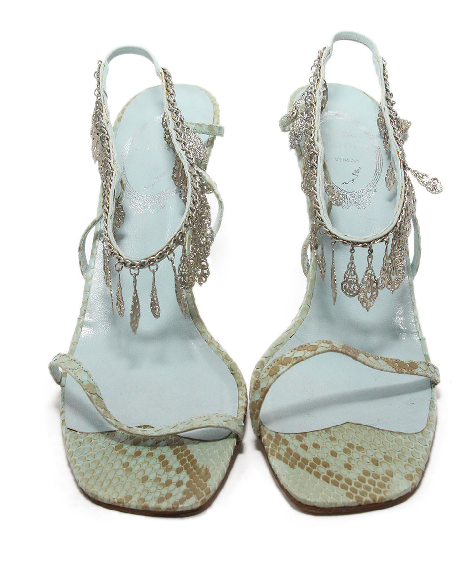 Rene Caovilla Blue Snake Skin Leather Silver Charms Sandals 4