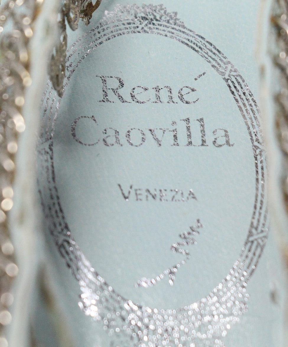 Rene Caovilla Blue Snake Skin Leather Silver Charms Sandals 7