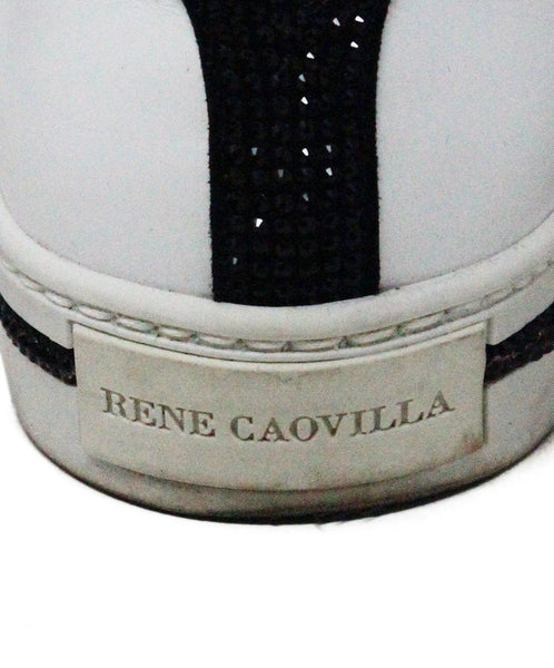 Rene Caovilla White Leather Black Crystal Trim Sneakers sz 6