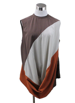 Rick Owens Brown Orange Ivory Silk Top