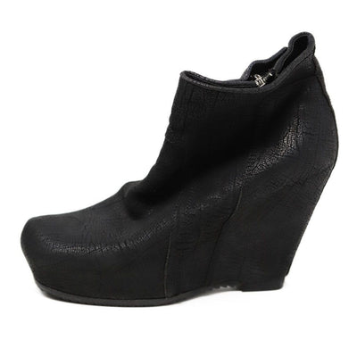 Rick Owens Shoe Black Leather Wedge Boots 1