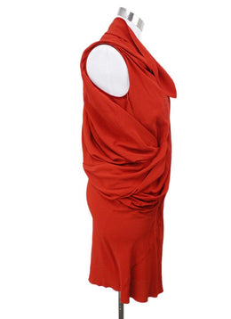 Rick Owens Red Acetate Silk Dress Sz 0