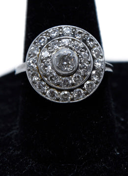 14 K Gold and White Diamond Circle Ring | Michael's Consignment NYC