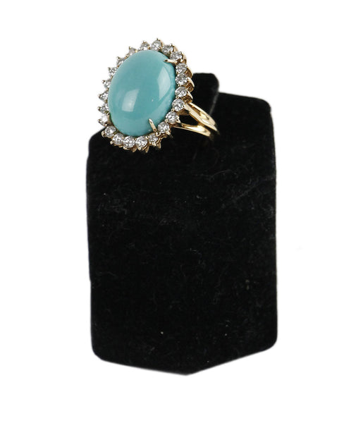 Ring Turquoise 14 K Gold Diamond Jewelry