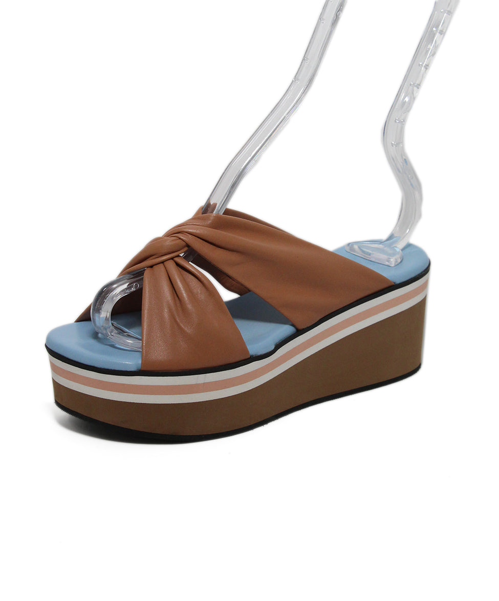 Robert Clergerie Brown Tan Blue leather Sandals 1