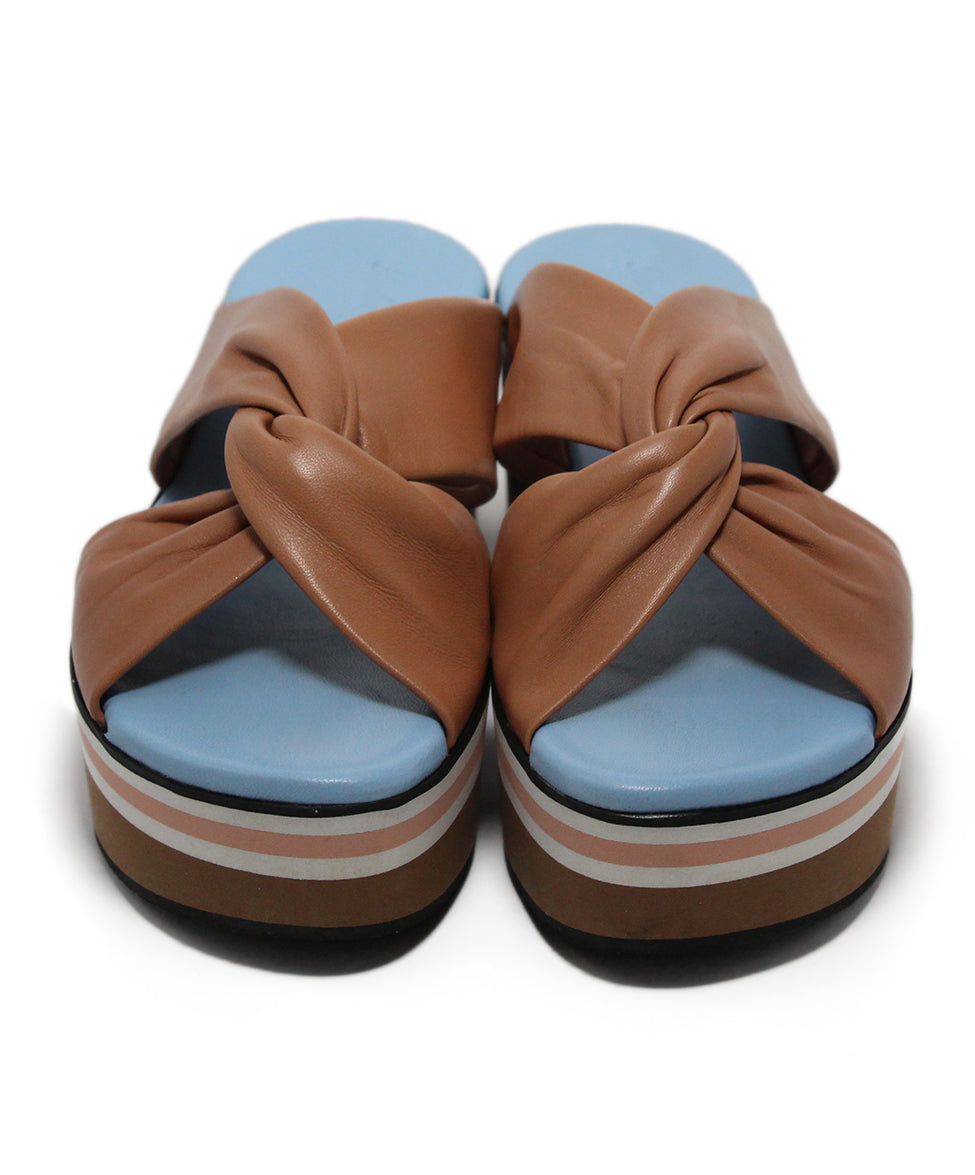 Robert Clergerie Brown Tan Blue leather Sandals 4