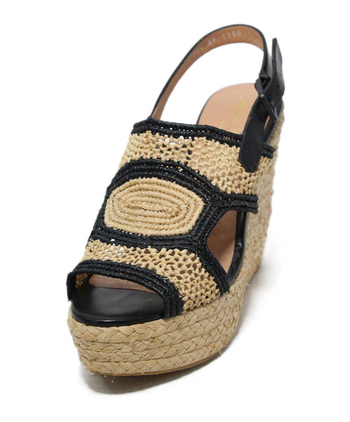 Robert Clergerie Black Beige Straw Leather Trim Wedge Sandals 1