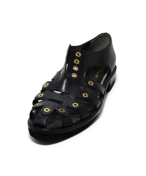 Robert Clergerie Black Leather Gold Trim Sandals 1