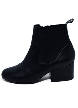 Robert Clergerie Black Leather Spandex Trim Booties 2