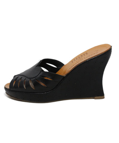 Robert Clergerie black leather wedges 1
