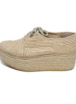 Robert Clergerie Neutral Tan Wicker Wedge 2