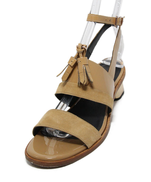Robert Clergerie Neutral Tan Patent Leather Suede Sandals 1