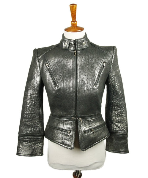 Robert Rodriguez Metallic Black Leather Jacket 1