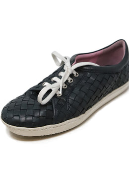 Robert Zur Navy Woven Leather Sneakers 1