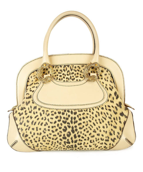 Roberto Cavalli Beige Suede Animal Print Leather Handbag