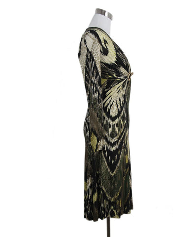 Roberto Cavalli Black Beige Printed Silk Dress 1