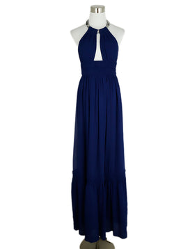 Roberto Cavalli Blue Royal Silk Beaded  Trim Evening Dress 1