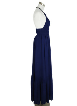 Roberto Cavalli Blue Royal Silk Beaded  Trim Evening Dress 2