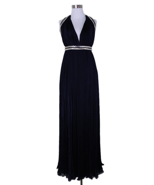 Roberto Cavalli Navy Pleated Silk Evening Dress 1