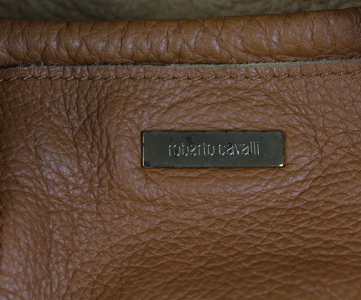 Roberto Cavalli Neutral Brown Leather Handbag 10