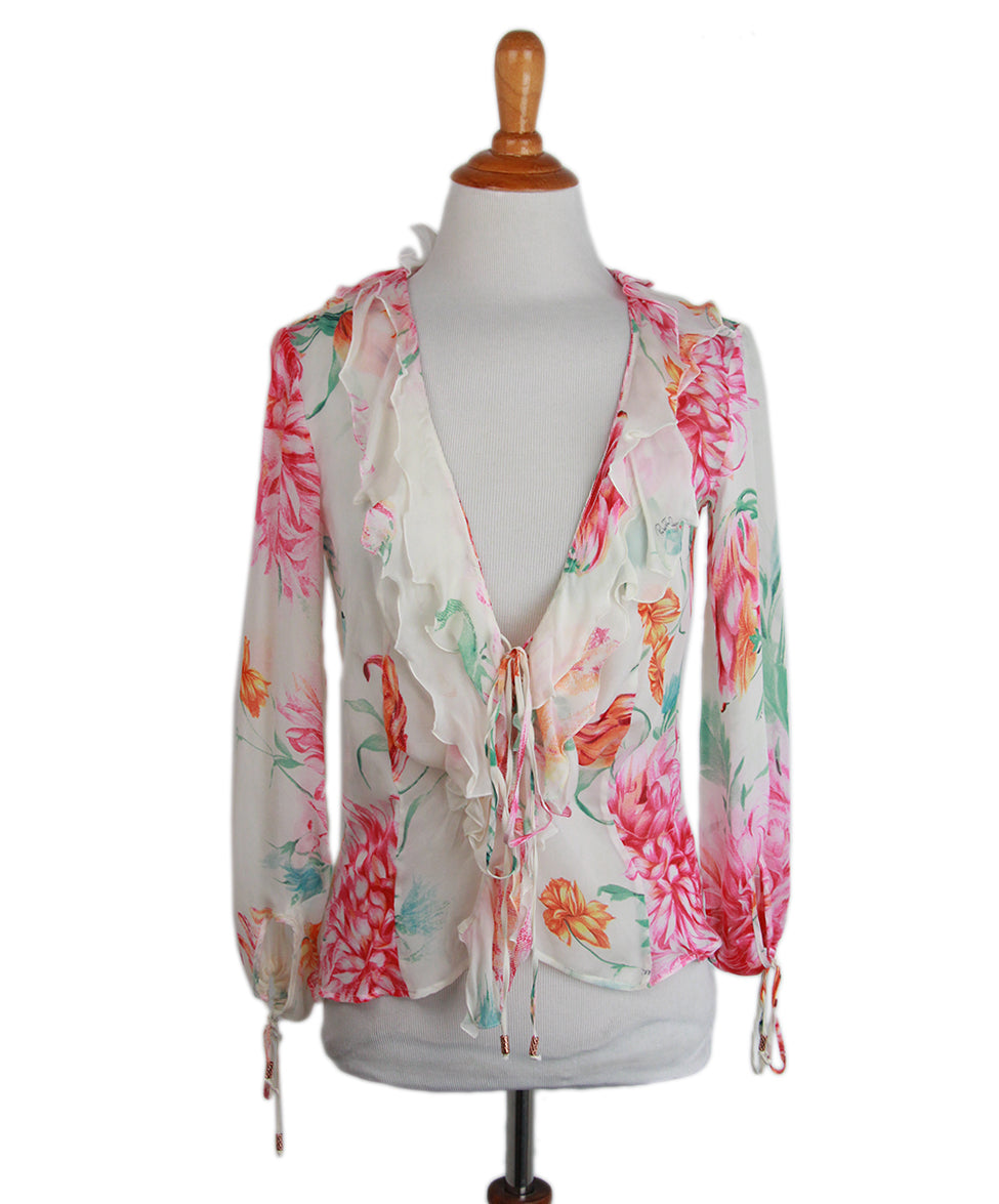 Roberto Cavalli Pink Floral Silk Blouse 1