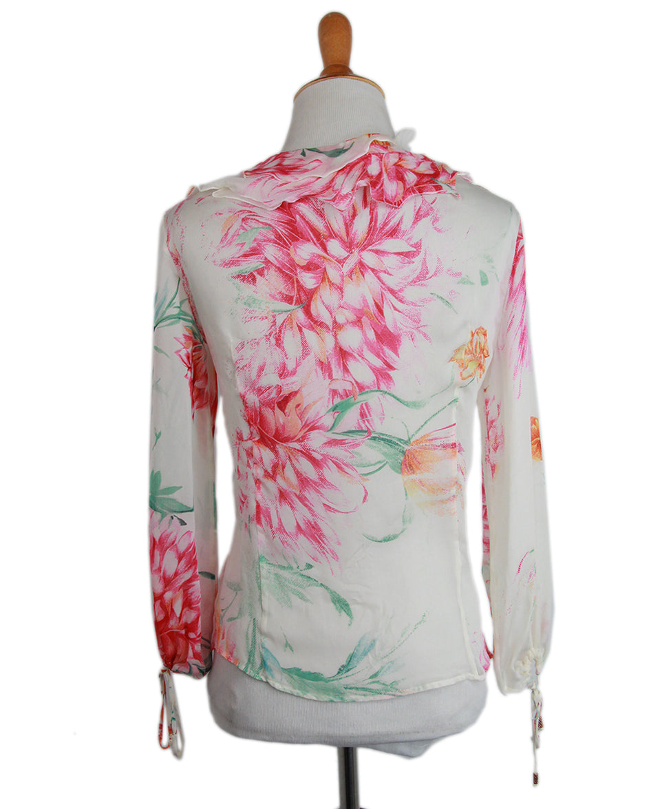 Roberto Cavalli Pink Floral Silk Blouse 3