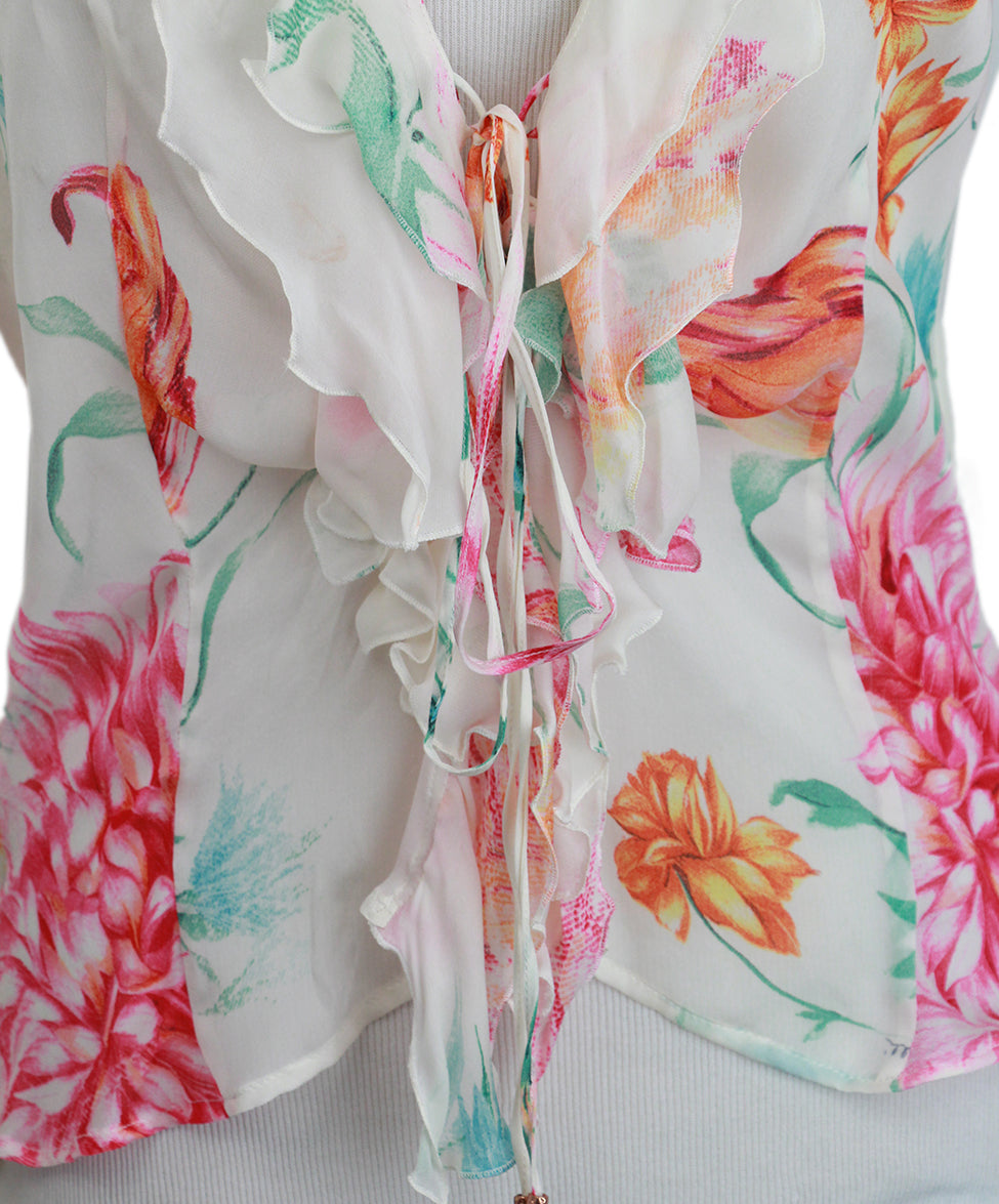 Roberto Cavalli Pink Floral Silk Blouse 5