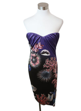 Roberto Cavalli Purple Brown Print Acetate Polyamide Dress 1