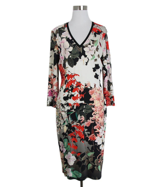 Roberto Cavalli White Red Black Floral Dress 1