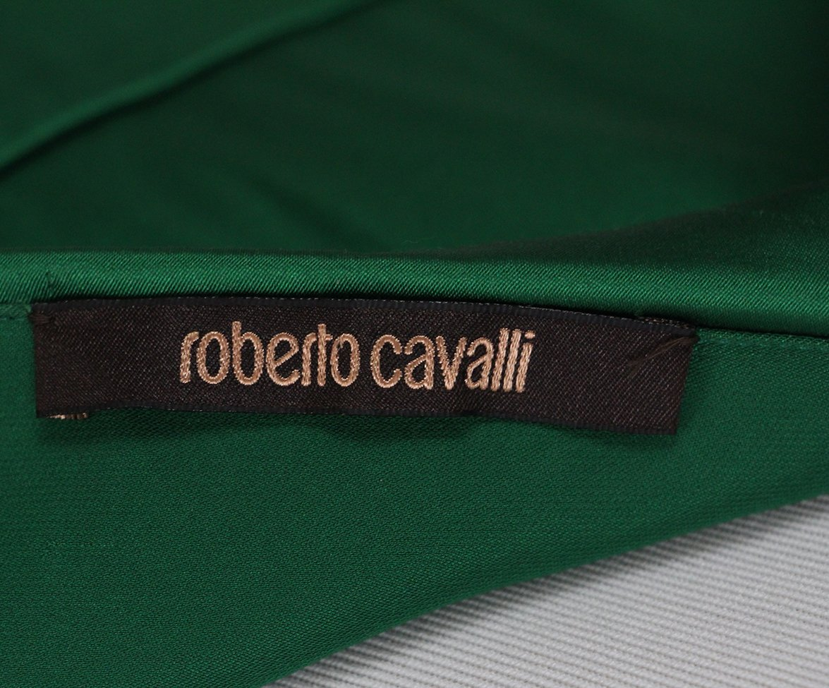 Roberto Cavalli green silk dress 4
