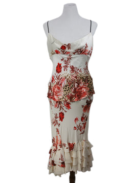 Roberto Cavalli Cream Red Print Silk Ruffle Floral Dress 1