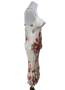 Roberto Cavalli Cream Red Print Silk Ruffle Floral Dress 2