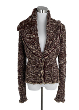 Roberto Cavalli Red Burgundy Beige Knit Cardigan Sweater 1