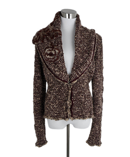 Akris Punto Black Beige Red Wool Tweed Jacket, Sz. 8