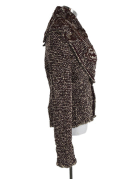 Roberto Cavalli Red Burgundy Beige Knit Cardigan Sweater 2