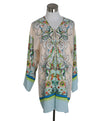 Roberto Cavalli Beige Green Aqua Print Silk Cover-up 1