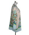 Roberto Cavalli Beige Green Aqua Print Silk Cover-up 2