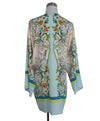 Roberto Cavalli Beige Green Aqua Print Silk Cover-up 3