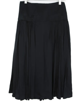 Rochas  Black Pleated Silk Skirt 1