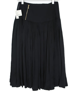 Rochas  Black Pleated Silk Skirt 2