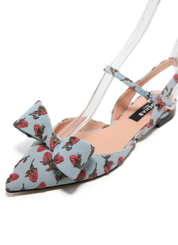 Rochas Blue Rose Print Canvas Embroidery Flats 1