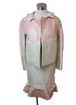 Rochas Pink Ivory Silk Skirt Suit 1